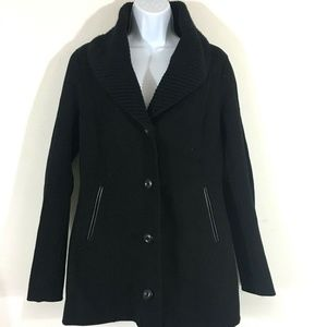 Mackage Coat M Black Button Front Wool Collar W47
